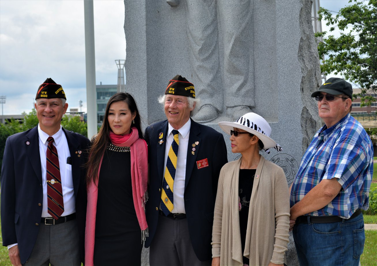 District 3 Commander Gus Vitali, Hannah Y Kim and State Commander Root at State of Ohio Korean War Memorial and All Veterans Walk Way.